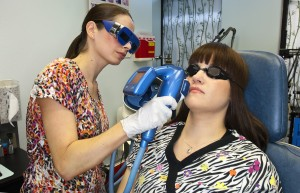 Woman receiving Laser skin treatment
